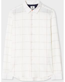 Men's Slim-fit White Multi-coloured Windowpane Check Shirt