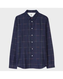 Men's Slim-fit Navy Multi-coloured Windowpane Check Shirt