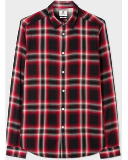 Men's Slim-fit Red And Black Check Shirt