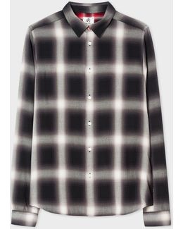 Men's Slim-fit Black And White Check Shirt