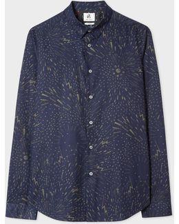 Men's Slim-fit Navy 'celestial' Print Shirt