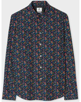 Men's Slim-fit Navy 'earth Floral' Print Shirt