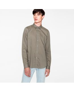 Men's Slim-fit Khaki Cotton And Wool-blend Shirt