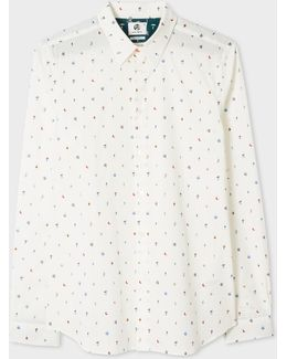 Men's Tailored-fit Off-white 'mushroom' Print Shirt