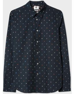 Men's Tailored-fit Navy 'mushroom' Print Shirt