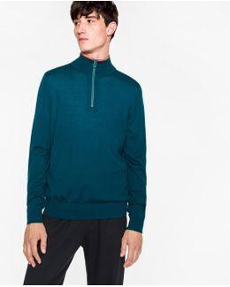 Men's Dark Teal Merino Wool Half-zip Sweater