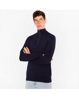 Men's Dark Navy Merino Wool Half-zip Sweater