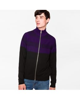 Men's Black And Mauve Stripe Merino Wool Funnel-neck Zip-front Cardigan