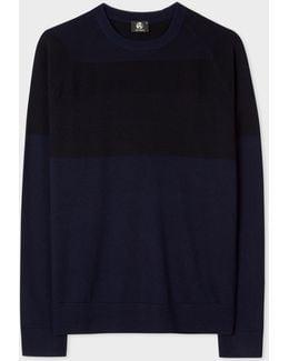 Men's Navy And Black Textured Stripe Merino Wool Sweater