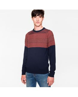 Men's Navy And Coral Textured Stripe Merino Wool Sweater