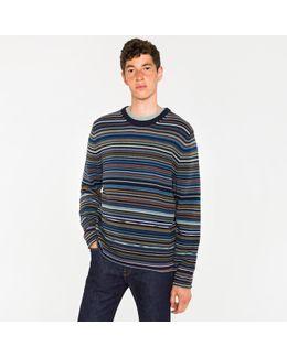 Men's Blue Multi-stripe Merino Wool-blend Sweater