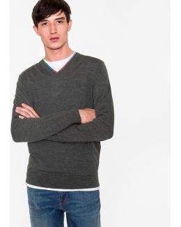 Men's Grey Marl Wool-blend V-neck Sweater With Multi-coloured Stripe Detailing