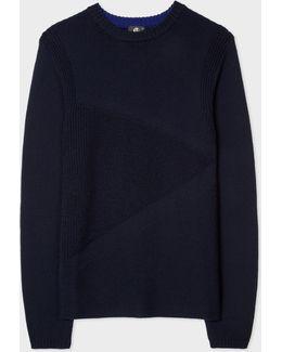 Men's Navy Textured Stripe Wool Sweater