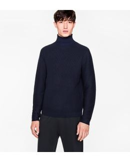 Men's Navy Funnel Neck Wool And Cotton-blend Sweater