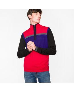Men's Red And Purple Colour-block Merino Wool Funnel-neck Half-zip Cardigan