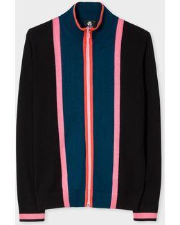Men's Black And Petrol Stripe Merino Wool Funnel-neck Zip-front Cardigan