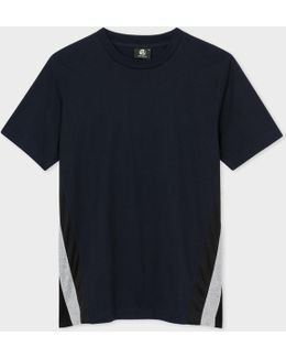 Men's Navy Organic-cotton T-shirt With Breathable Panels