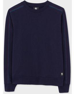 Men's Navy Organic-cotton Sweatshirt With Multi-coloured Stitching