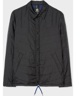 Mens Black Showerproof Ripstop Quilted Packable Jacket