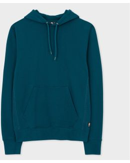 Men's Petrol Cotton Hoodie With Multi-coloured Stitching