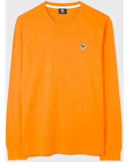 Men's Orange Organic-cotton Zebra Logo Long-sleeve T-shirt