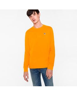 Men's Orange Organic-cotton Zebra Logo Long-sleeve T-shirt