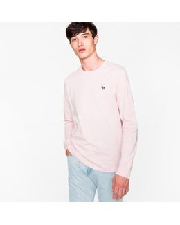 Men's Pink Organic-cotton Zebra Logo Long-sleeve T-shirt