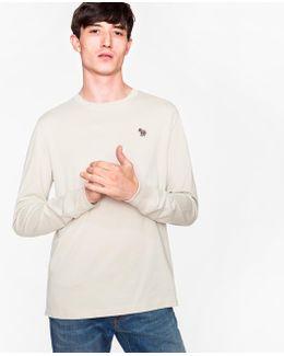 Men's Light Grey Organic-cotton Zebra Logo Long-sleeve T-shirt