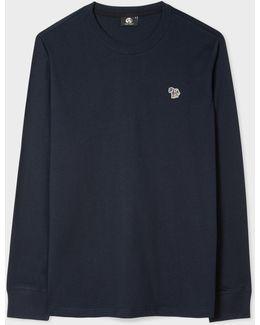 Men's Dark Navy Organic-cotton Zebra Logo Long-sleeve T-shirt