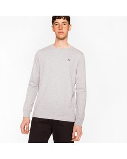 Men's Grey Marl Organic-cotton Zebra Logo Long-sleeve T-shirt