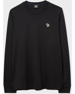 Men's Black Organic-cotton Zebra Logo Long-sleeve T-shirt