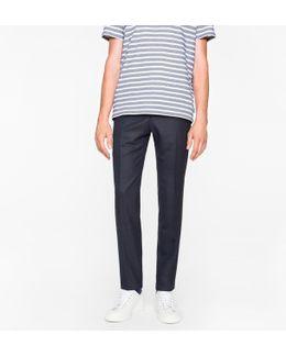 Men's Slim-fit Navy Wool-hopsack Trousers