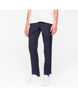 Men's Mid-fit Dark Navy 'irregular Spot' Wool Trousers