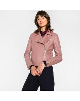 Women's Pink Leather Biker Jacket