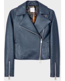 Women's Navy Leather Biker Jacket
