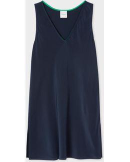 Women's Navy Silk Top