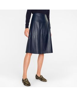 Women's Navy Nappa Leather Skirt With Vents