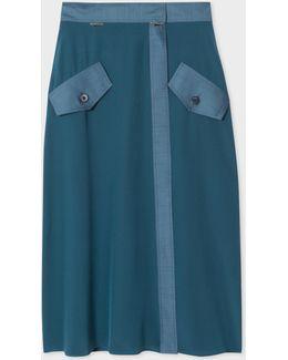 Women's Teal Silk Wrap-skirt