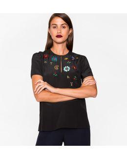 Women's Black Silk Top With Jewel Embellishments