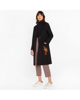 Women's Black 'a Coat To Travel In' Wool Epsom Coat With Monkey Embroidery