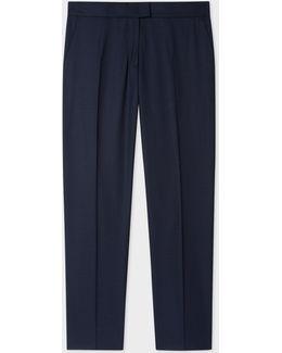 Women's Slim-fit Navy Wool-hopsack Trousers