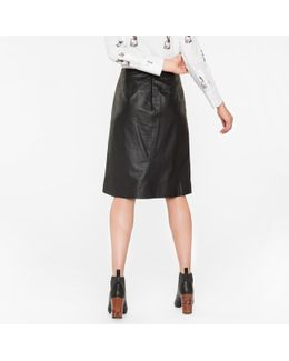 Women's Black Lamb Leather Skirt With Pocket