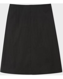 Women's Black Wool-mohair Skirt