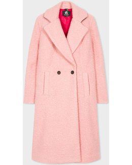Women's Pink Bouclé Cocoon Coat