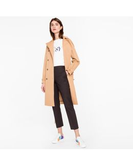 Women's Camel Cotton-twill Trench Coat With Pink Contrasts