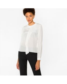 Women's White Silk Top With Ruffle Front