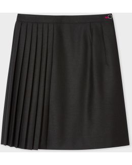 Women's Black Wool-blend Mini Skirt With Pleats
