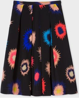Women's Black 'supanova' Print Silk Skirt