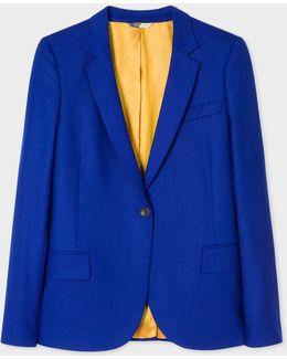 Women's Cobalt Blue Wool-hopsack Blazer