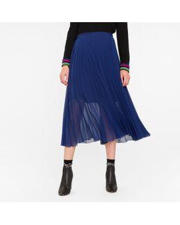 Women's Indigo Pleated Midi Skirt